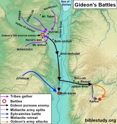 4dcda2c9fe43 Map showing Gideon s Battles