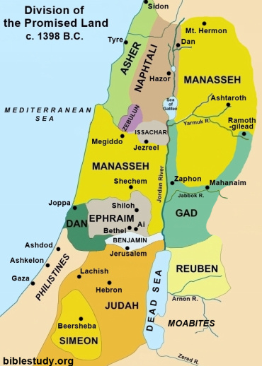 Division of Promised Land to Israel Map