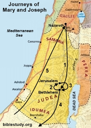 Map Of Bethlehem Journeys of Mary and Joseph Map