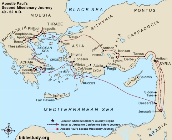 Apostle Paul's Second Missionary Journey Large Map