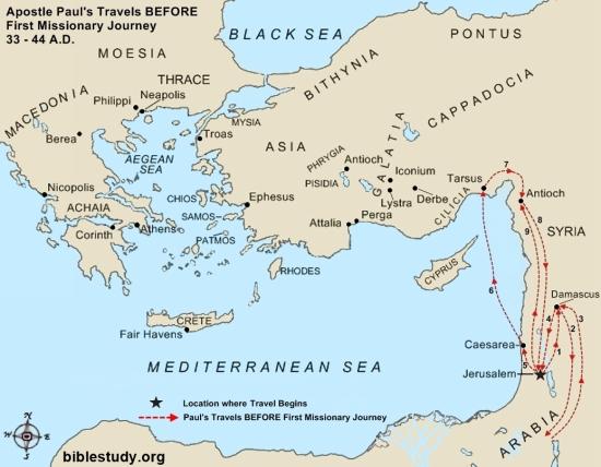 Apostle Paul's journeys after conversion large map