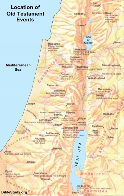 Map Of Old Testament Israel Map of Old Testament Events Map Of Old Testament Israel