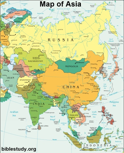 world map asia. Map of Asia