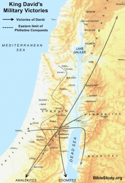 Map showing King David's Military Victories