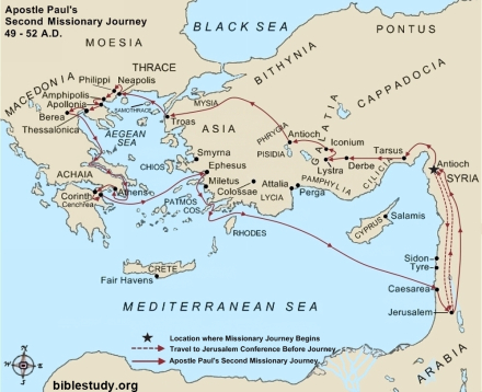 Apostle Paul's Second Missionary Journey Map