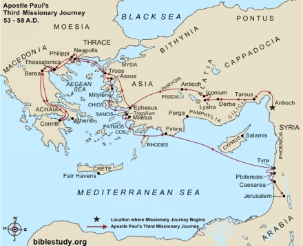 Apostle Paul's Third Missionary Journey Map
