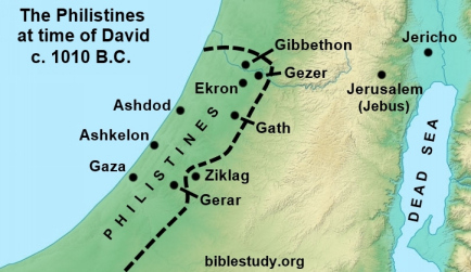 Map of Philistine territory at time of King David in 1010 B.C.