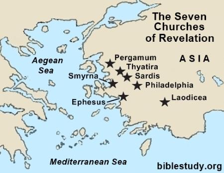 graphic regarding Printable Revelation Bible Study named Map of Revelations 7 Church buildings