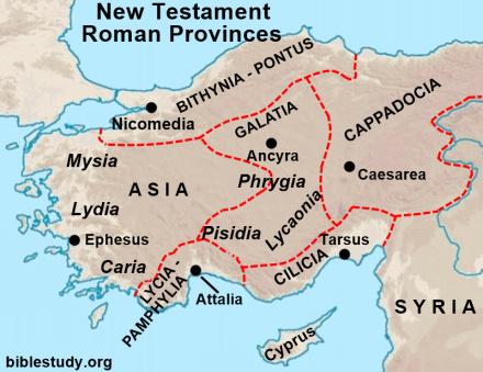 Map of New Testament Roman Provinces in Asia Minor